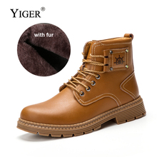 YIGER New Men Boots martins Genuine Leather Winter Warm with fur men army boots Lace-up Ankle Autumn Man desert 0162
