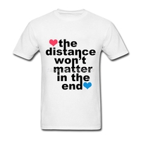Uomini t shirt design unico distanza non importa alla fine di alta qualità clothing cotone manica corta da uomo t-shirt camisetas