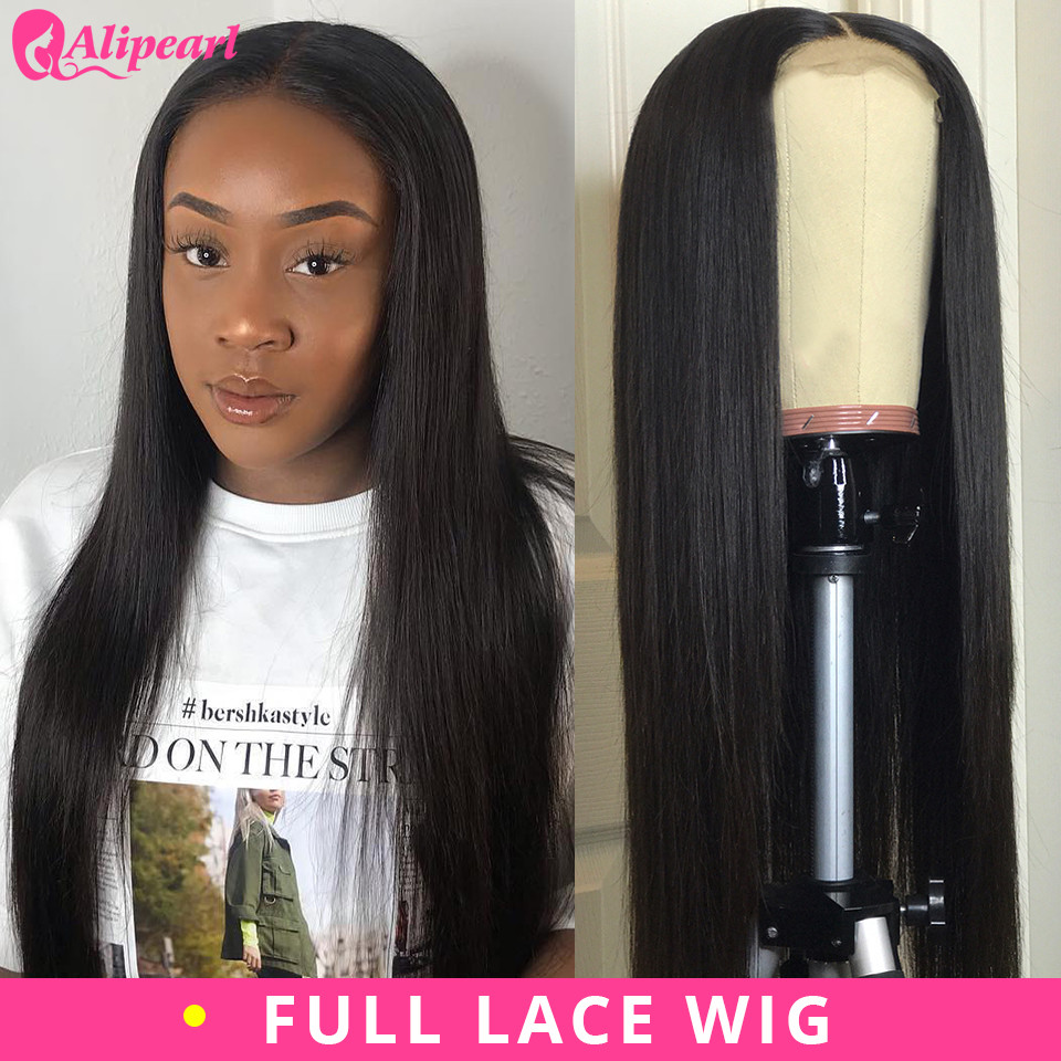 Straight Full Lace Human Hair Wigs Pre Plucked With Baby Hair For Women Brazilian Full Lace Wigs 180% Density Remy AliPearl Hair