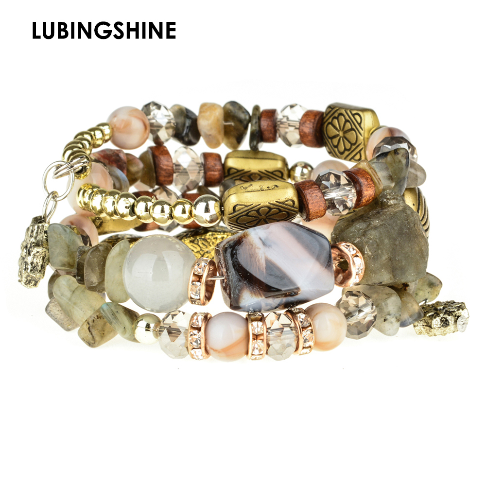 LUBINGSHINE National Wind Adjustable Beaded Charms BraceletsBangles Vintage Bead Women Jewelry