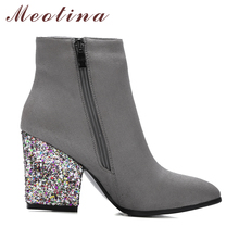 Designer Women Boots Shoes Women High Heels Ankle Boots Zipper Pointed Toe Glitter Martin Boots Ladies Shoes Large Size 9 10 43