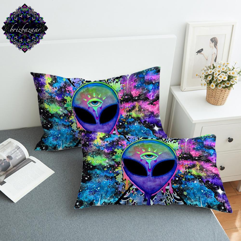 Trippy Alien par Brizbazaar taie d'oreiller aquarelle taie d'oreiller le troisième oeil taie d'oreiller Saucerman pour garçons Fronha livraison directe Taie d'oreiller    -