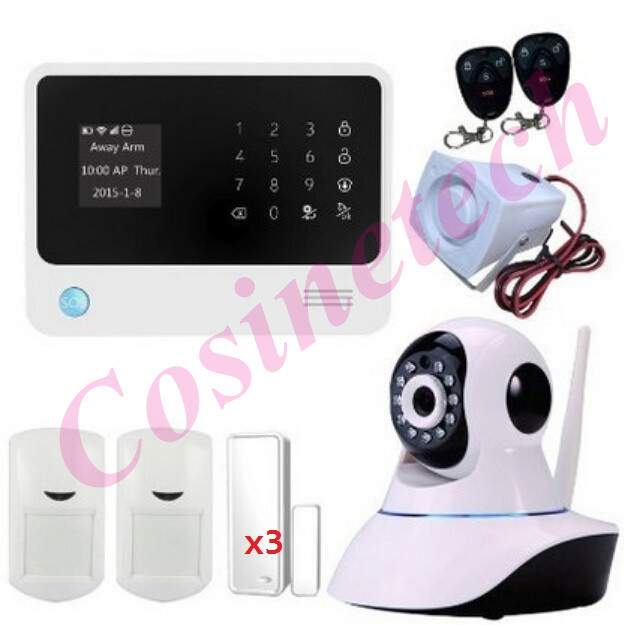 New Arrival GPRS WIFI alarm system Wireles gsm alarm system with ip camera,APP controlled smart home Security burglar alarm