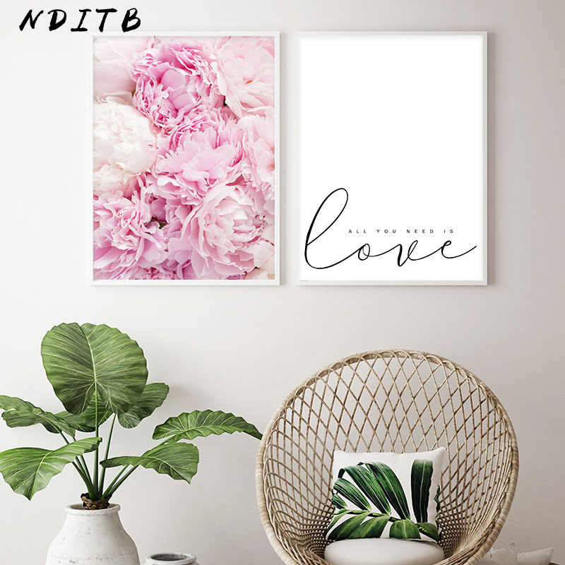 Pink Peony Flower Canvas Nordic Posters Floral Prints Scandinavian Style Wall Art Painting Decorative Pictures Modern Home Decor