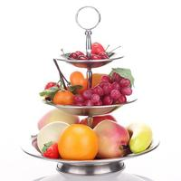 3 Tier Fruit Rack Stainless Steel Stand Holder Wedding Cake Candy Dessert Stand Round Metal Home Plate Placed Tool Fruit Baske