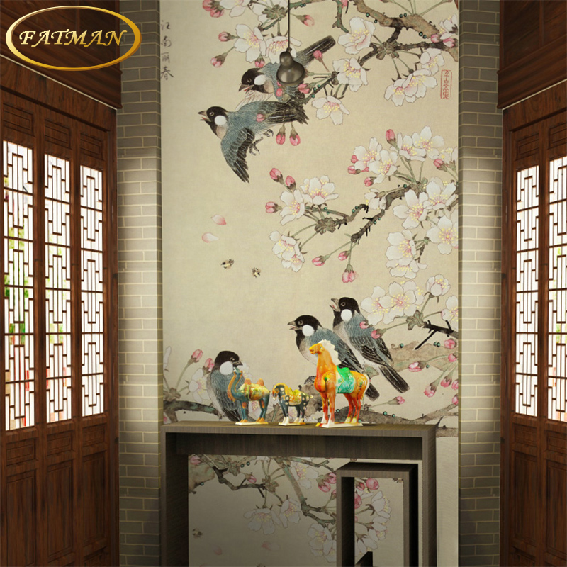 Custom 3d photo wallpaper chinese classical bird wallpaper for Bird mural wallpaper