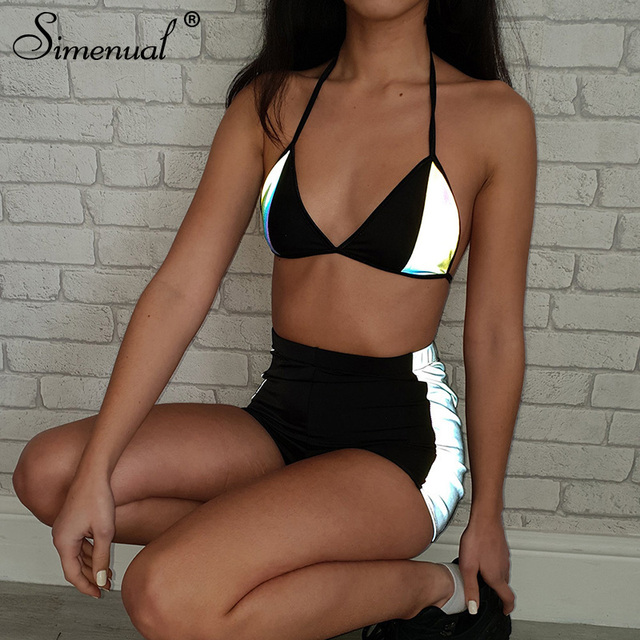 Simenual Casual Fashion Women Two Pieces Set Reflective Sexy Patchwork Tracksuits Summer Hot Bralette And Shorts Sets Fitness