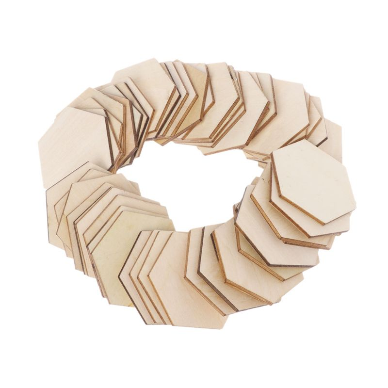 50pcs Hexagon Laser Cut Unfinished Wooden Discs Embellishments Arts Crafts DIY Birthday Wedding Display Decor 50mm