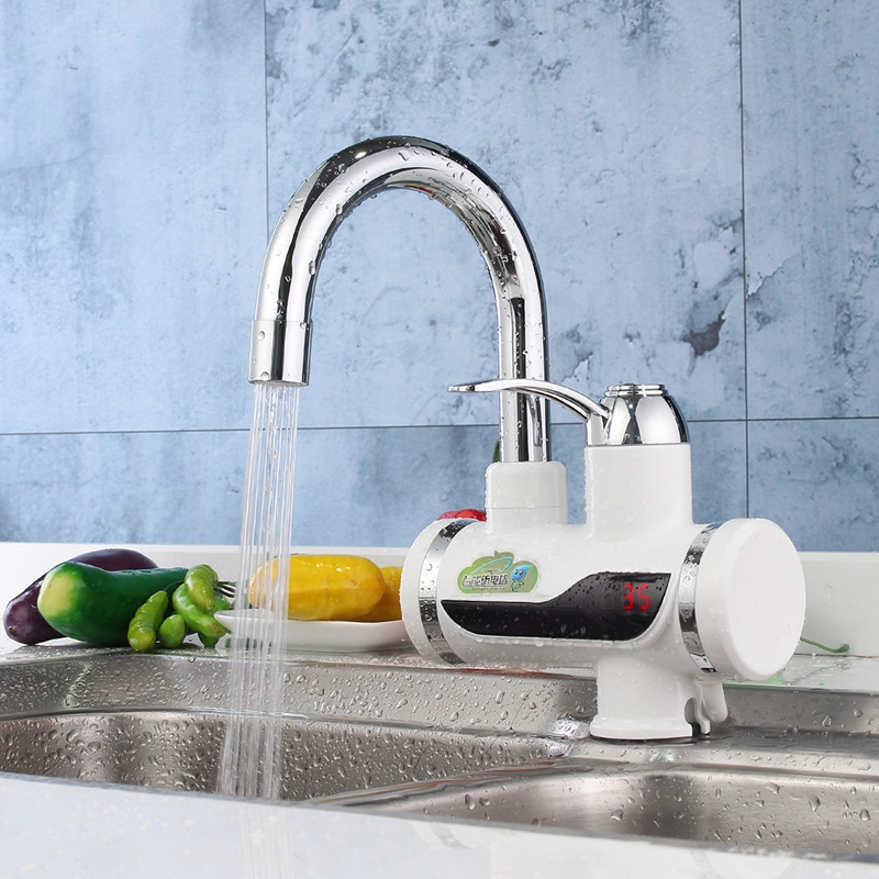 Instant Water Heater Tankless LED Digital Kitchen Faucet Tap Mixer Tap Bathroom Hot Water Crane Faucets Electric Tap AU Plug