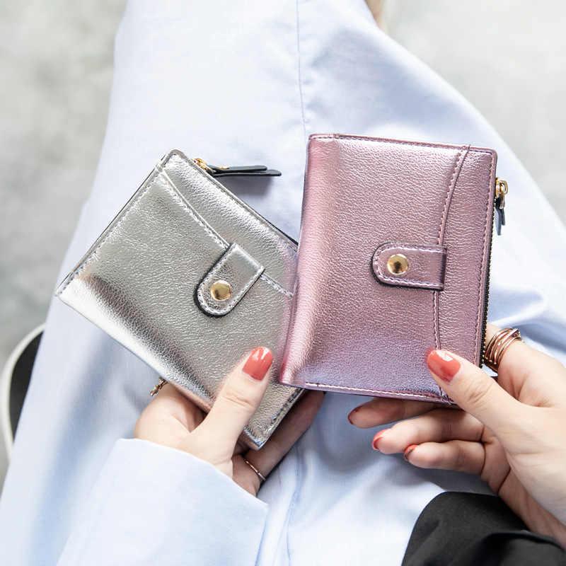e1cbb9260354 Перламутровые Для женщин кожаный бумажник леди Мода PU сцепления держатель  для карт кошелек 2018 новых студентов