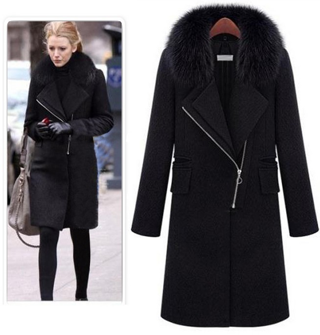Popular Wool Coat Fur Collar Black-Buy Cheap Wool Coat Fur Collar ...