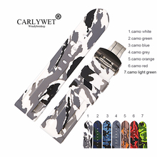 CARLYWET 24mm Wholesale Waterproof Rubber Watchbands Silicone Replacement Wrist Watch Band Strap Belt With Silver Black Clasp