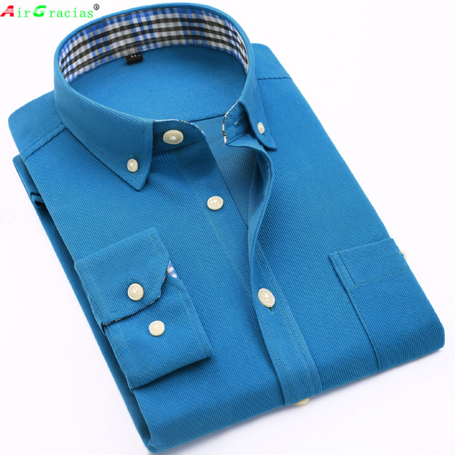c3830cd5 AirGracias Vintage Corduroy dress Shirt Men Slim Fit New Casual Shirts Mens  Brand Long Sleeve Clothes