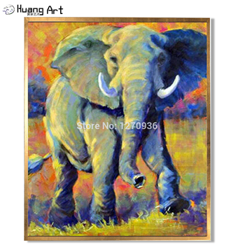 Best Price and High Quality Handmade Impression Elephant Oil Painting on Canvas for Wall Decoration Animal Oil Picture