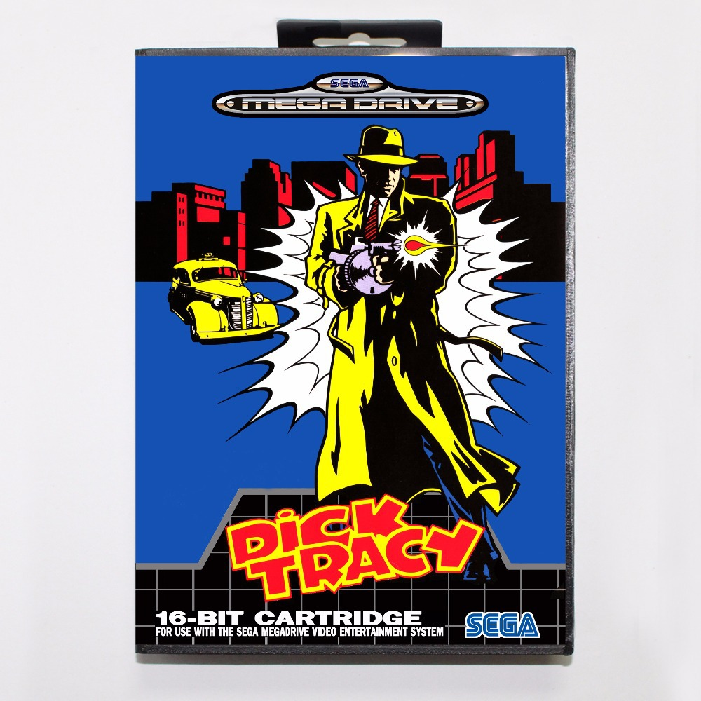 Dick Tracy Game Cartridge 16 bit MD Game Card With Retail Box For Sega Mega Drive For Genesis