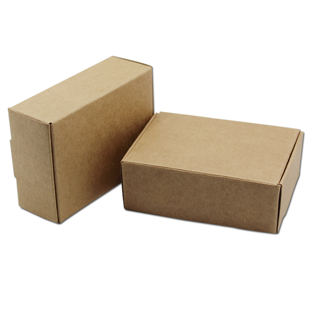 20Pcs Natural Brown Kraft Paper Small Gifts Packaging Box Carton Paperboard Wedding Party DIY Supply Packing Box 67 Sizes