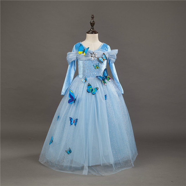 ff071a521 Butterfly Pattern Cinderella Dresses Girls Long Sleeve Children s ...