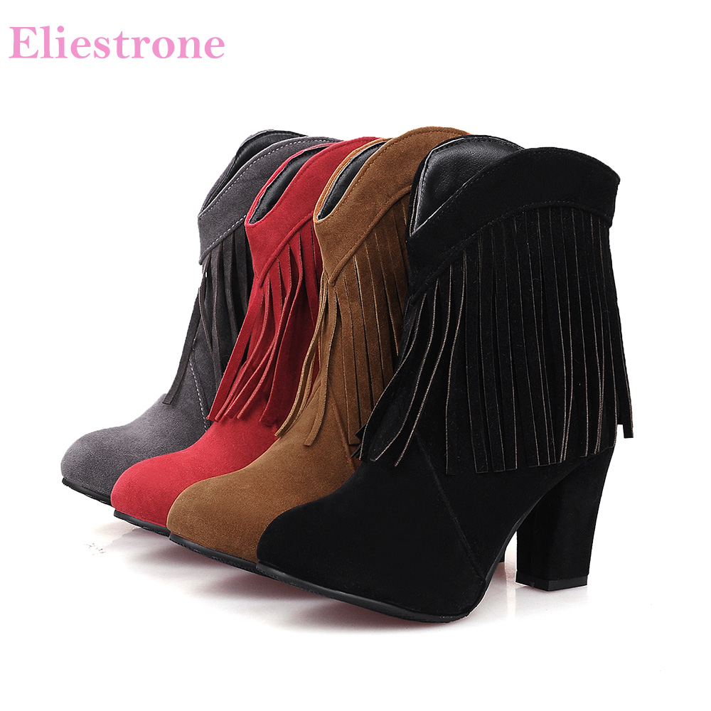 Brand New Sales Fashion Black Red Women Ankle Boots Comfortable Lady Fringe Riding Shoes High Heels SH32 Plus Big Size 32 43 47