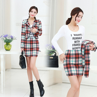 Han Edition Of The New Women S Fashion Grid Cloth Coat Package Buttocks Skirts Two Piece