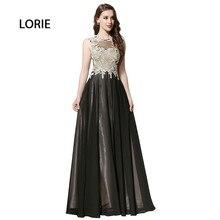 Abendkleid Lange für Mutter der Braut O-ansatz A linie Appliqued Schwarz Chiffon Keyhole Back Formales Abschlussball-kleid vestido longo