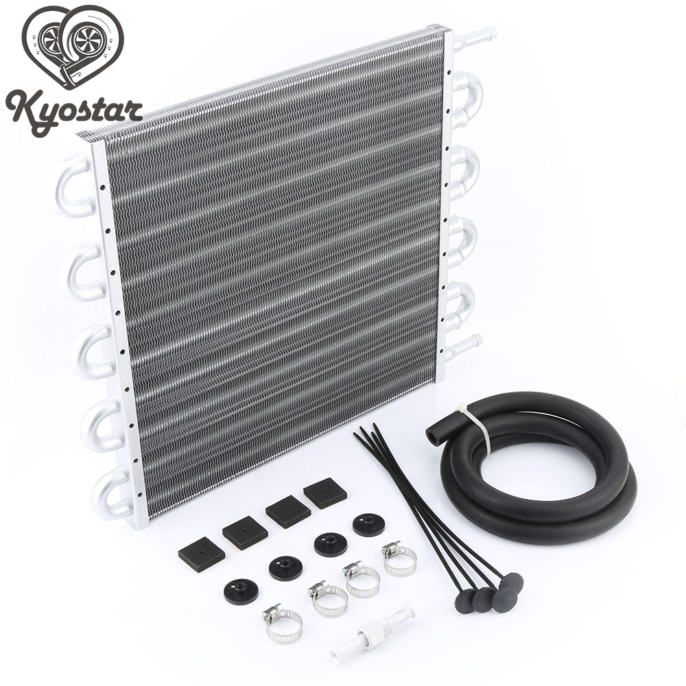 UNIVERSAL 10 Row 6AN Aluminum Racing Engine Plate REMOTE Transmission Oil Cooler Kit Auto Manual Radiator
