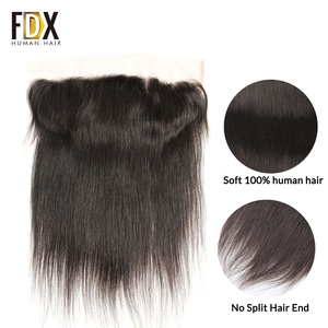 Image 2 - FDX Indian Hair Lace Frontal Closure 13x4 Swiss Lace With Baby Hair Natural Human Hair 8 10 12 14 16 18 20 Inches remy straight