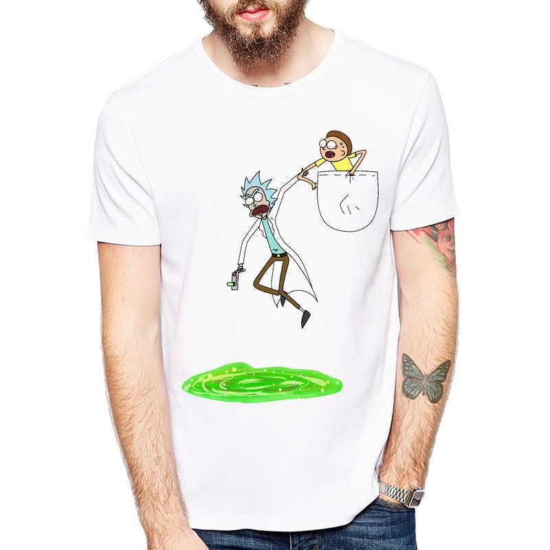 2019 Lucu Anime T Shirt Merek Pakaian Hip Hop Rick dan Morty Dicetak Pria T Kemeja Lengan Pendek Nyaman Tinggi t-shirt Kualitas