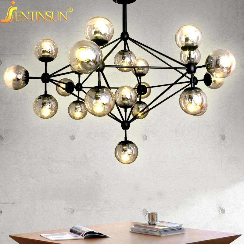 2016 Magic Bean Chandeliers Lamps AC 110-240V LED DNA Bubble Modern Glass Ball Lustres Light For Living Room Mall Hotel Decor modern magic bean dna molecules chandelier pendant lamp dna lamp modern glass ball lamps with 10 bulbs
