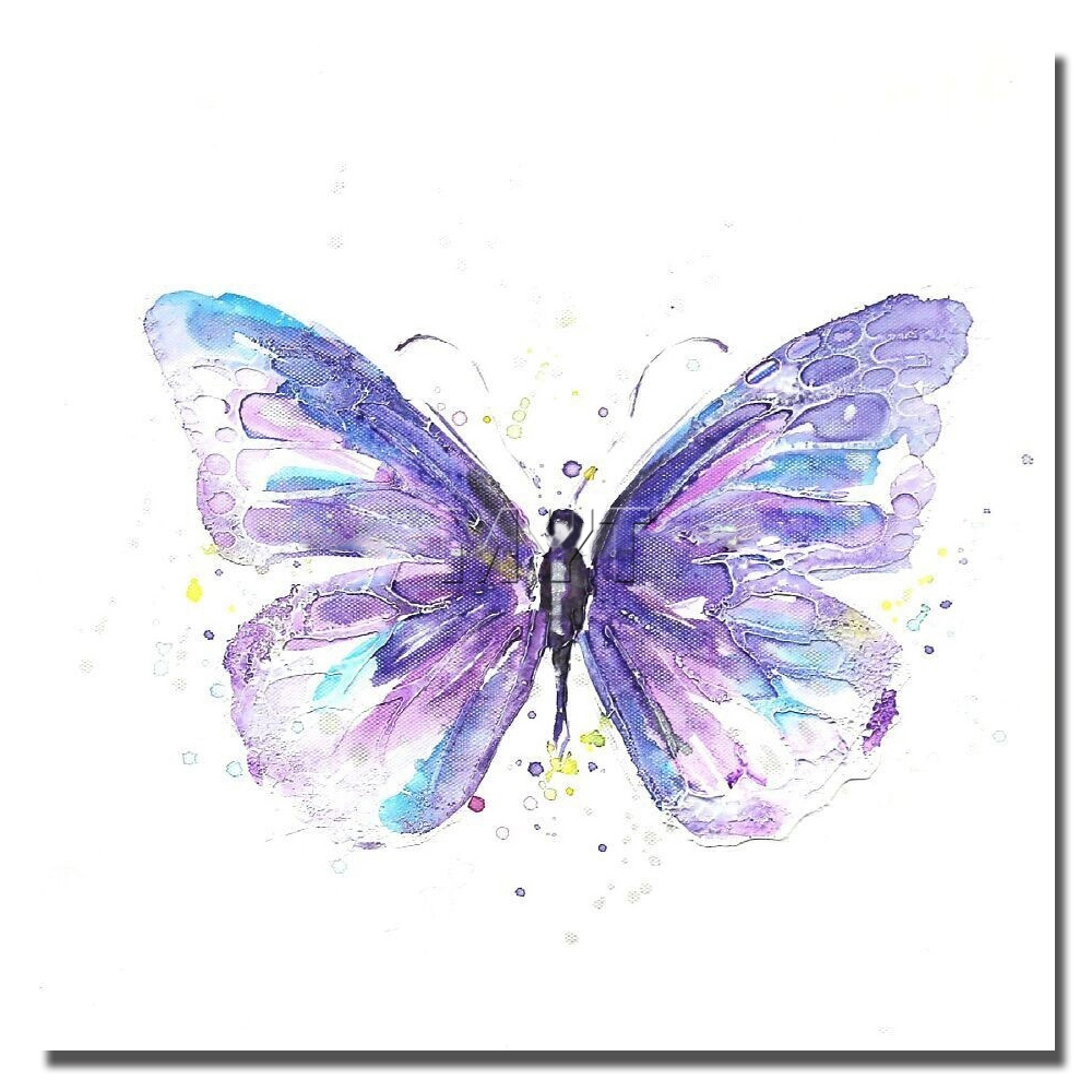 purple color butterfly human body abstract oil painting