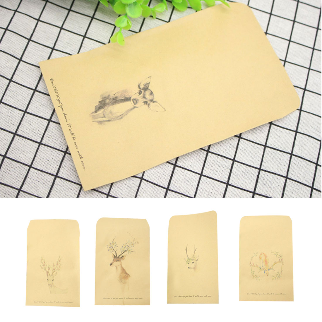 FangNymph Cute Deer 10 PCS DIY Envelope Retro Kraft Paper Envelopes Gift Card Office Stationery Supplier 8 Style Available