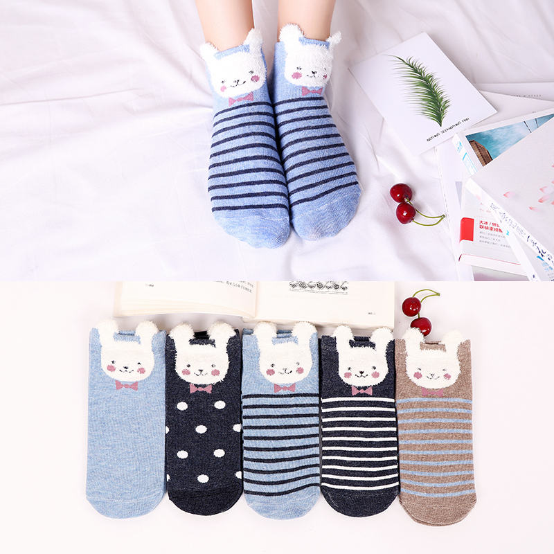 Women Ankle Socks Lovely Funny Cartoon Stereoscopic Animals Ear Plush  Sock Comfort Women Cute Girls Art Socks Meias