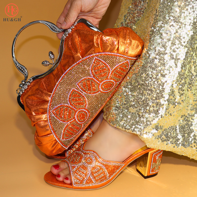 Italian Shoes And Bag Set Wholesale 2018 Cheap Wedding Shoes and Matching purse for women Party Orange Color African Party shoes g36 wholesale gold wedding shoes and bag set hot selling latest african wedding lady shoes matching bag with stones