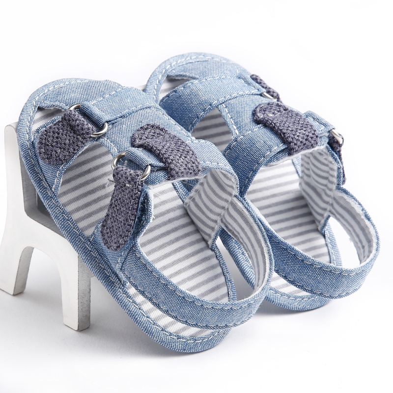 0-18M Baby Boy Sandals Non-slip Shoes Striped Denim Children Shoes Casual Soft Bottom Sandals