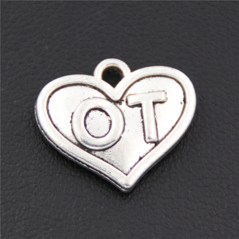 8 шт. старинное серебро трудотерапевты Шарм Медицинский Кулон физиотерапия сердце ювелирных нахождения Diy ручной работы