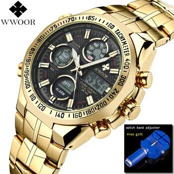 WWOOR Relogio Masculino Top Brand Luxury Watch Men Watches Golden Stainless Steel Military Wristwatch Big Dial Clock Male 2018
