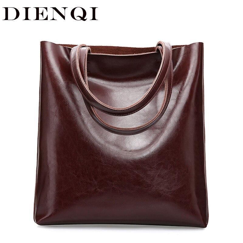 DIENQI Real Genuine Leather Handbags Big Women Tote Bags Female Fashion Designer High Quality Office Ladies Shoulder Bags 2019