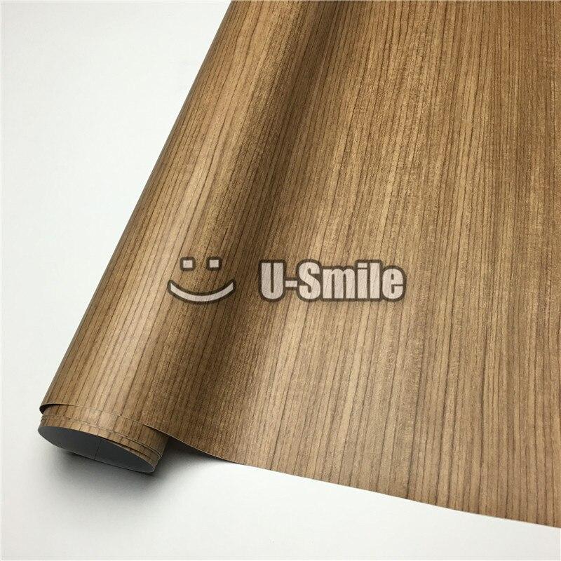 Vinyle en bois de voiture d'enveloppe de Texture en bois de teck pour l'intérieur de voiture de meubles de mur taille: 1.24X50 m/Roll (4ftX165ft)
