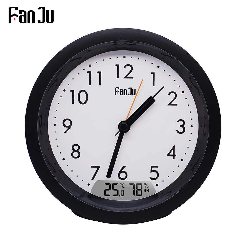 FanJu FJ5132 Đồng Hồ Báo Thức Hiện Đại Thiết Kế Kỹ Thuật Số Nhiệt Độ Độ Ẩm LED Ánh Sáng Bảng Đồng Hồ Bàn Cho Phòng Khách Nhà Văn Phòng Thời Gian