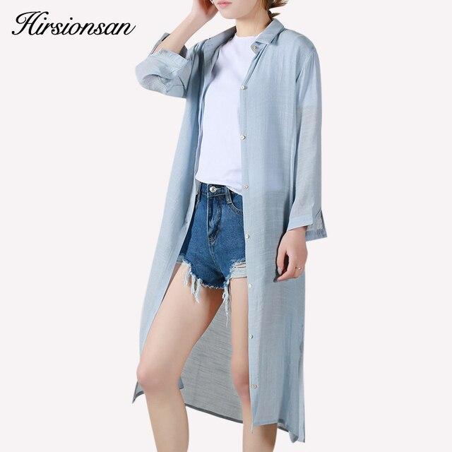 c5186b6578260 Clothing blusas largas de las mujeres de protección solar del verano de  algodón de lino blusa