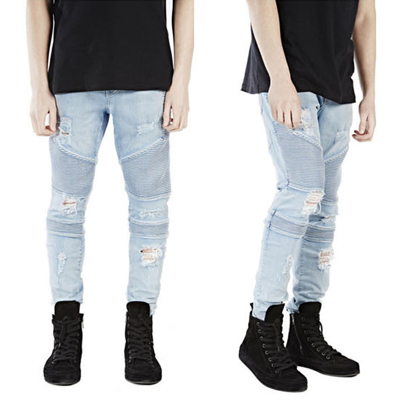 Fashion Men Jeans Brand Straight Fit Ripped Jeans Light Blue Slim Straight Denim Hole Washed Distressed Pants Homme Long Trouser fashion men s ripped jeans acid washed vintage teared torn straight fit distressed denim pants with holes