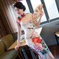 Long Qipao Dress Improvement of Chinese Style Restoring Cheongsams with Elegant Printing Flowers White Long Dress