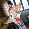 Vestido largo Qipao Cheongsams Mejora de Estilo Chino Que Restaura con Elegantes Flores de la Impresión Vestido Largo Blanco