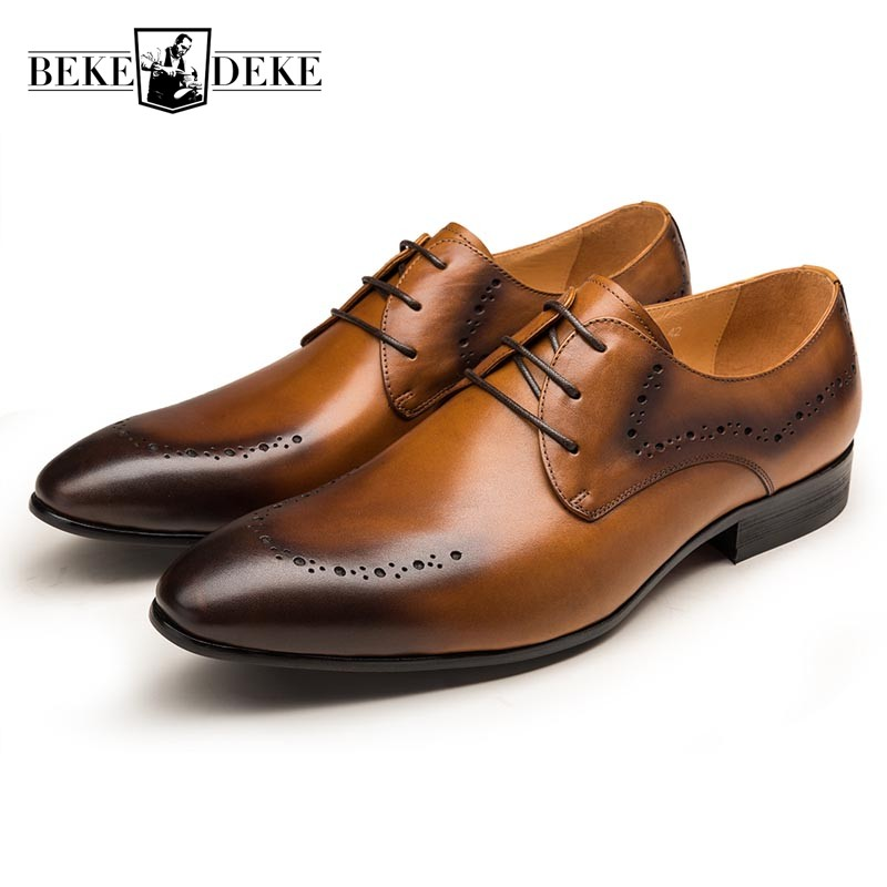 2018 Classic Men Formal Business Genuine Leather Derby Shoes Mens Flats Wedding Party Brogue Black Brown Male Footwear Zapatos good quality men genuine leather shoes lace up men s oxfords flats wedding black brown formal shoes