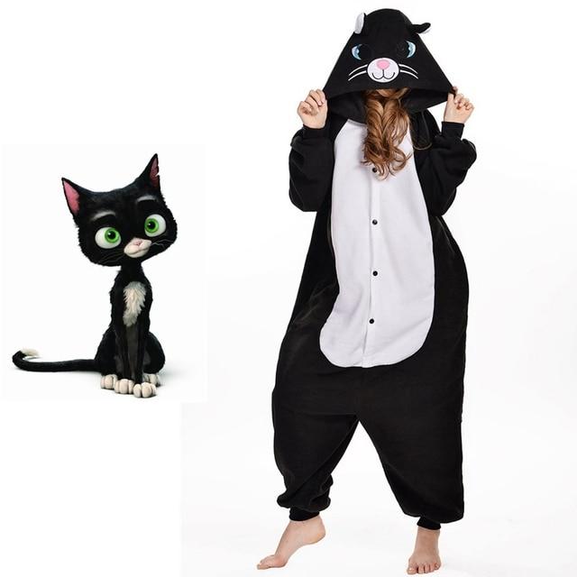 Косплэй Рождество Черная Кошка Домашняя одежда kengurumi пижамы для Для  женщин костюм Комбинезоны пижамы Семья животных 66f6c9e86a6d5