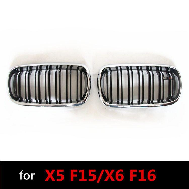 F15 F16 M-style Chrome Gloss Black ABS Plastic Front Racing Grill Grille for BMW F16 X6 BMW F15 X5 2014 2015 2016 2017 2018 pair gloss matt black m color front kidney racing bumper grille grill for bmw x5 f15 x6 f16 x5m f85 x6m f86 2014 2015 2016 2017