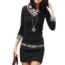 Tfg 2016 caliente estilo de la moda de primavera de rayas doble cuello en v manga larga camisa top dress for women
