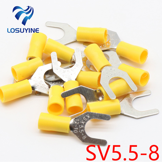 SV5.5 8 Yellow Terminal Cable Wire Connector 50PCS Insulated Fork ...
