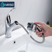 EVERSO Brass 360 Swivel Kitchen Faucet Pull Out Sink Mixer Tap Kitchen Taps Single Handle Torneira