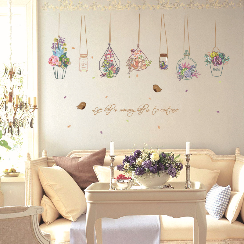 Autocollants muraux colorés pot de fleurs chaud   Support de plante vintage romantique pour salon décoration de la maison