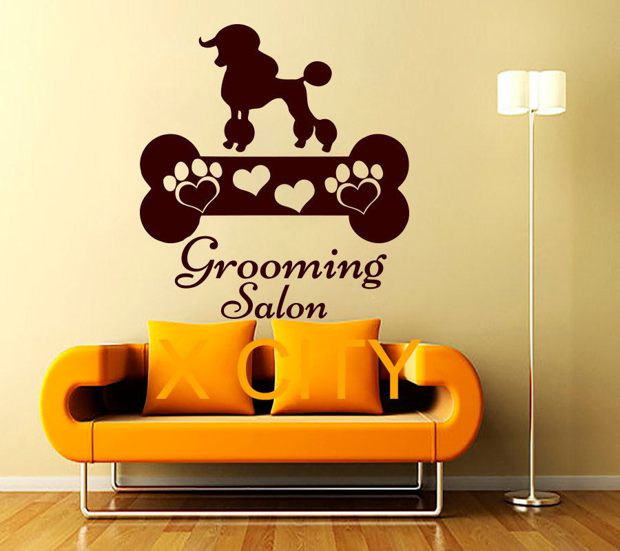 wall decals dog grooming salon die cut vinyl sticker pet shop decor home nursery room interior. Black Bedroom Furniture Sets. Home Design Ideas
